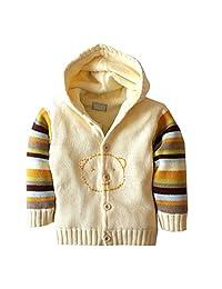 Baby Boys Girls Long Sleeve Knit Sweaters Cardigan Warm Outerwear Jacket Hooded Coats