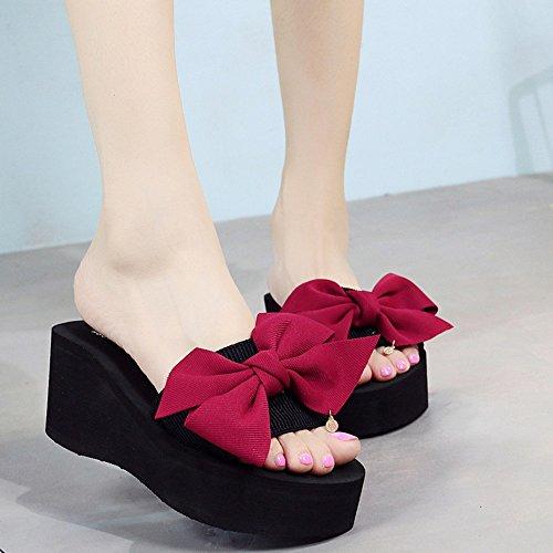 Color Mujeres 5 la Zapato Cuñas CN35 Zapatos de Dulce de EU36 Rojo Romanas Grueso Abierta Nudo UK3 Verano Tamaño 7cm Bohemia Playa Mariposa Feifei Azul Antideslizante Punta del Sandalias 10xq5F0