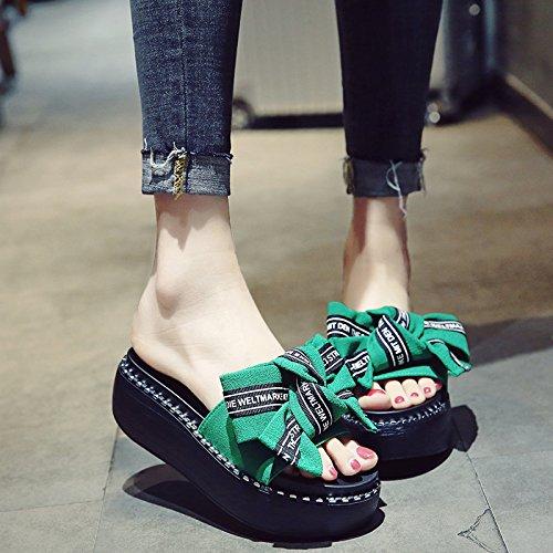 Zapatillas El una Pajarita Mujer Las pie de Bizcocho y Fresco fankou verde Visten el de Alto Gruesas de Talón puso Elegante Mujeres Zapatos Verano 81t1Bznq