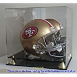 DisplayGifts PRO UV Football Full Size Helmet Display Case, Mirrored Back and Gold Risers MH15M