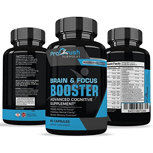 Brain & Focus Nootropic Supplement - Revolutionary Formula That Improves Mental Clarity & Focus. Boosts Intelligence Levels & Memory Function. Increases Level of Concentration & Alertness by ProCrush