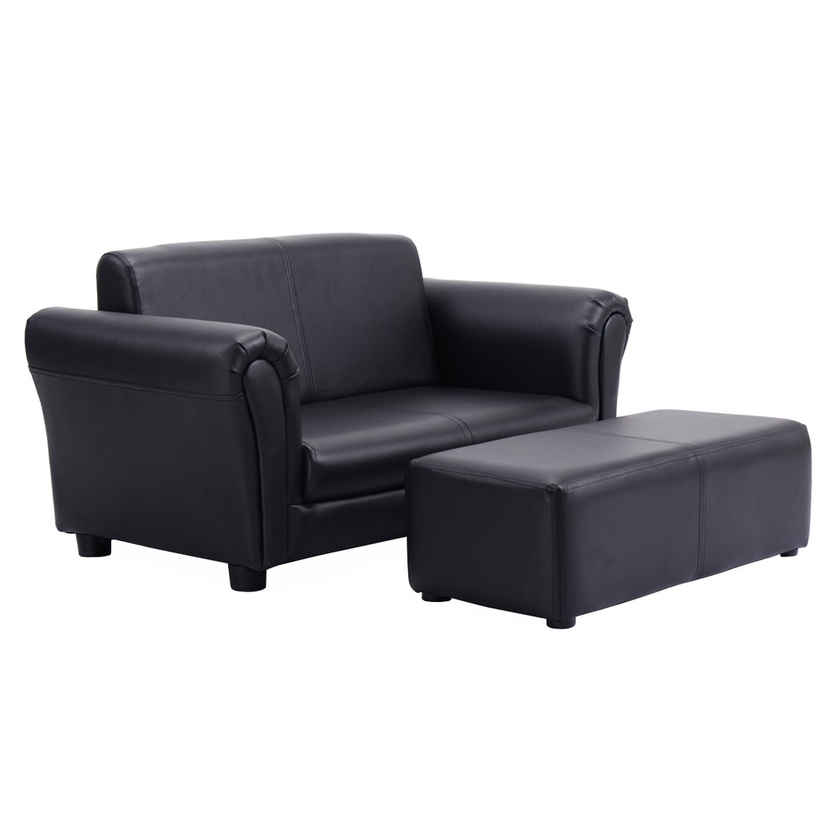 Costzon Kids Sofa Set 2 Seater Armrest Children Couch Lounge W/Footstool