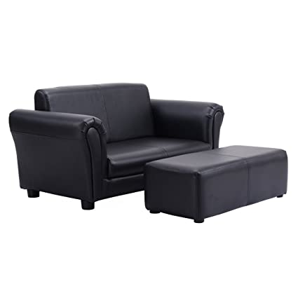 Costzon Kids Sofa Set 2 Seater Armrest Children Couch Lounge W/Footstool  (Black)