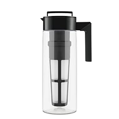 Takeya 10311 Patented Deluxe Cold Brew Iced Coffee Maker with Airtight Seal & Silicone Handle, 2-Quart, Black-Made in USA BPA-Free Dishwasher-Safe