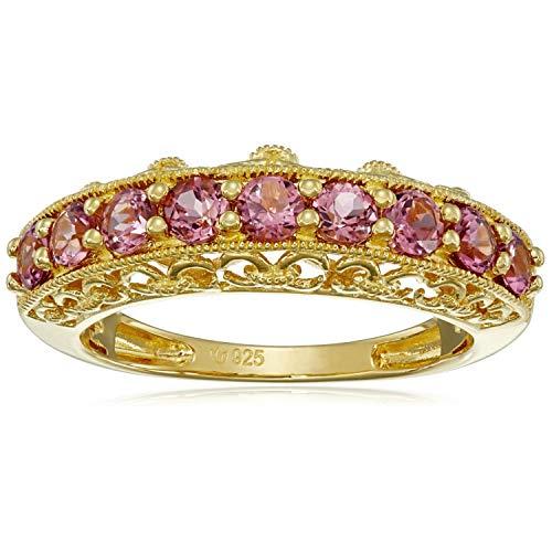 - Pinctore 18K Yellow Gold o/Silver .89ctw Pink Tourmaline Nine Stone Band Ring, Size 7