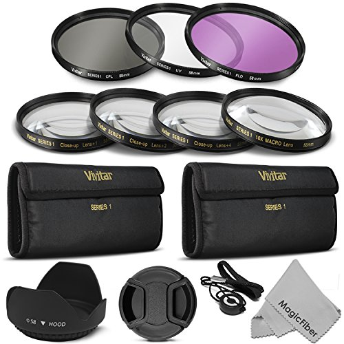 58mm Vivitar Professional UV CPL FLD Lens Filter and Close-Up Macro Accessory Kit for Lenses with a 58mm Filter Size (Macro Filter 58mm)