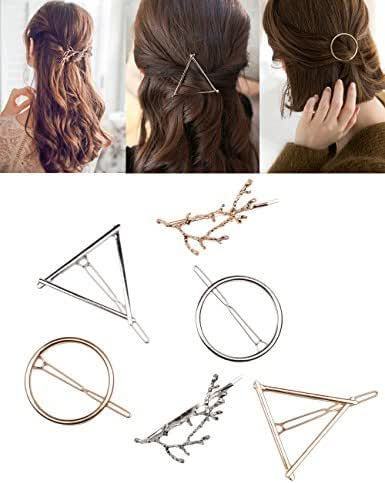 Fani 6pcs Minimalist Dainty Hollow Geometric Gold Silver Metal Hair Clip Hairpin Clamps,Tree Branches,Circle, Triangle Shapes Hair Accessories