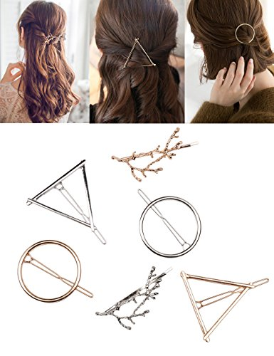 (Fani 6pcs Minimalist Dainty Hollow Geometric Gold Silver Metal Hair Clip Hairpin Clamps,Tree Branches,Circle, Triangle Shapes Hair Accessories)