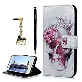 iPhone 7 Case, iPhone 8 Case, YOKIRIN Premium PU Leather Wallet Case Cover Pouch Magnetic Closure with Card Slots, Kickstand, Credit Card Holder,Book Style Flip Wallet Case, Crown Skull