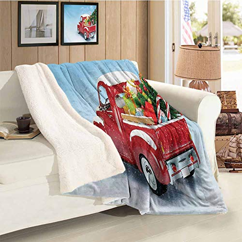 Christmas Sherpa Warm Blanket Red Classical Pickup Truck with Tree Gifts and Ornaments Snowy Winter Day Image Blue Red for Family and Friends Blanket Throw Size