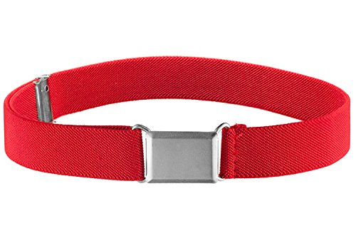 Kids Elastic Adjustable Strech Belt With Silver Square Buckle - Red