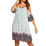 Big Sale! Wintialy 2019 Womens Bohemian Vintage Printed Cold Shoulder Loose Fit Swing Tunic Shift Dress White