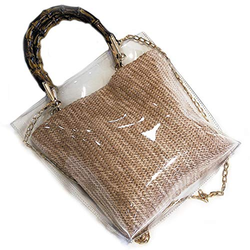 (PVC Clear Bamboo Top-Handle Bag For Women Straw Quilted Chain Strap Shoulder Purse Waterproof Transparent Tote Handbag)