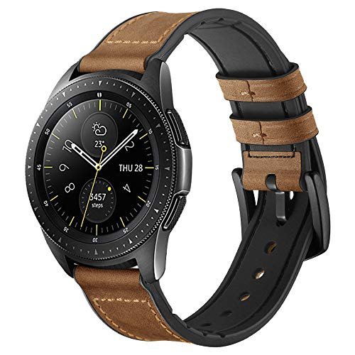 Maxjoy Compatible with Galaxy Watch 42mm/Active 40mm Bands, 20mm Hybrid Sports Band Vintage Leather Sweatproof Strap Replacement for Samsung Watch 42mm/Active 40mm Smart Watch Dark Brown