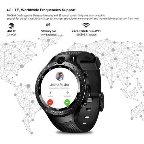 mollylover Zeblaze Thor 4 Reloj Doble Inteligente, 4G GPS WiFi Android Reloj Inteligente Cámara 1 + 16G Memoria 530 mAh Batería Reloj de Pulsera