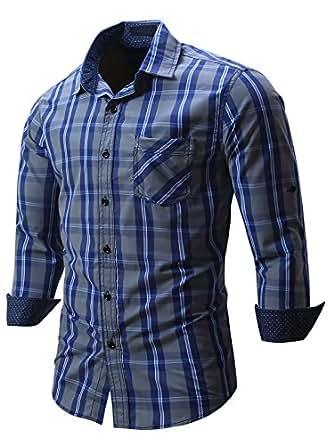 Neleus Men's Cotton Long Sleeve Button Down Plaid Shirts,115,Navy Blue,L,EUR XL