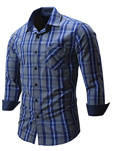 Neleus Men's Cotton Long Sleeve Button Down Plaid Shirts,115,Navy Blue,M,EUR L