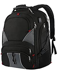 Large Laptop Backpack,TSA Durable Travel Backpacks with Waterproof Rain Cover, Anti Theft Big Student Business School Backpack for Women and Men with USB Port, Fits 17 inch Laptop & Notebook,Black