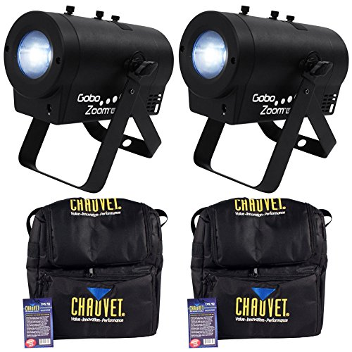 Package: (2) Chauvet DJ Gobo Zoom USB Compact Custom Gobo Projector Lights With 10 Wedding Ready Gobos + D-FI USB Ready + (2) Chauvet DJ CHS-40 Rugged Travel Bags With Dual Compartments by Chauvet