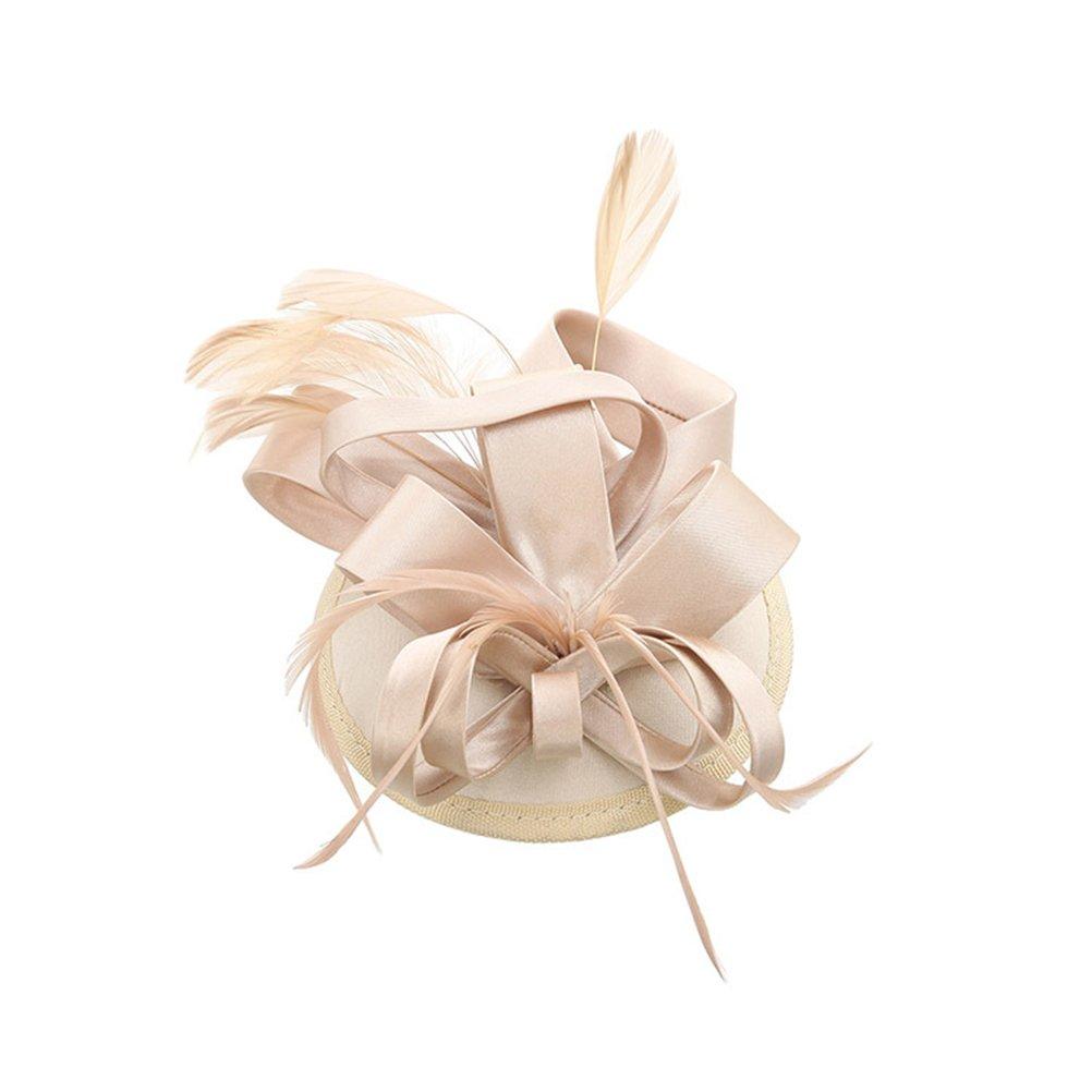 Frcolor Agrafe de chapeau plume Fascinator féminines sur mariage accessoire de cheveux Party (Champagne)