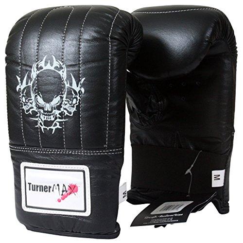 TurnerMAX Sac de frappe en cuir authentique Gant de toilette gants Kick boxe combat MMA UFC Noir