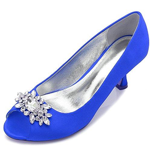L@YC Zapatos De Boda De Las Mujeres F17061-57 Rhinestone Con El Vestido De Las SeñOras Zapatos Del SalóN De Fiesta Del SatéN De La Hebilla Blue