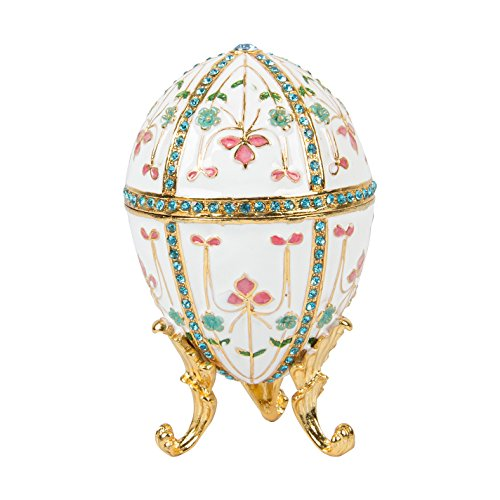(QIFU-Hand Painted Enameled Faberge Egg Style Decorative Hinged Jewelry Trinket Box Unique Gift for Home Decor)