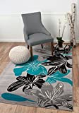 """SUMMIT BY WHITE MOUNTAIN Summit PX-8R2L-AOU9 36 New Grey Torquoise Modern Abstract Many Sizes Available (3′.8"""" X 5), 3′.8"""" X 5′ AREA RUG Review"""
