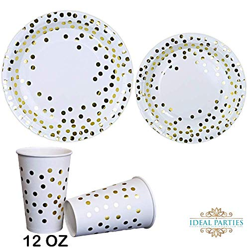 Gold Dot Disposable Paper Plates with Cups Set 150 PCS - Elegant paper Cups, Dinner and Dessert Plates for Bridal Shower, Baby Shower, Wedding, Anniversary, Birthday Any Party supplies for 50 Guest!!]()