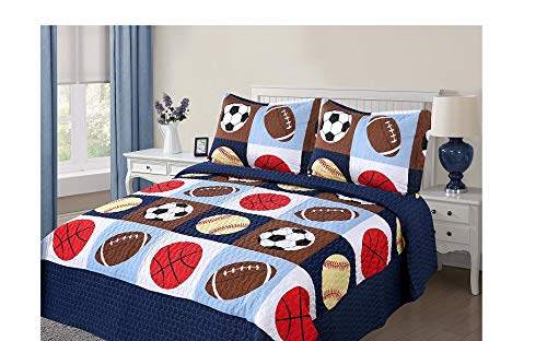 Golden Linens 3 pieces Full Size Quilt Bedspread Set Kids Sports Basketball Football Baseball For Boys & Girls (Full) (Childrens Quilts Bedding)