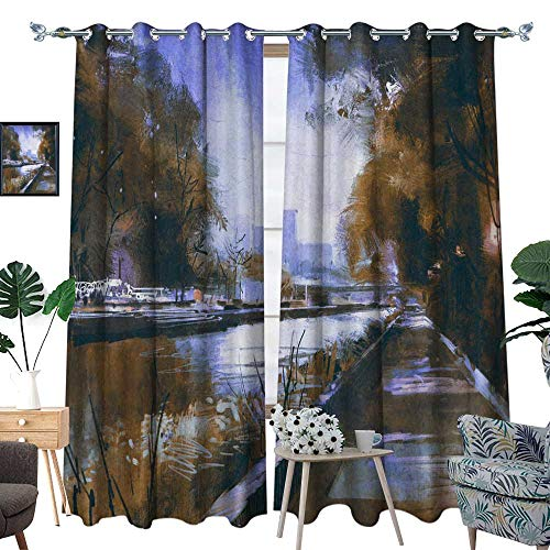 homehot Keep Warm Draperies Riverside Walkway in a Tranquil City W108 x L108 Drapes