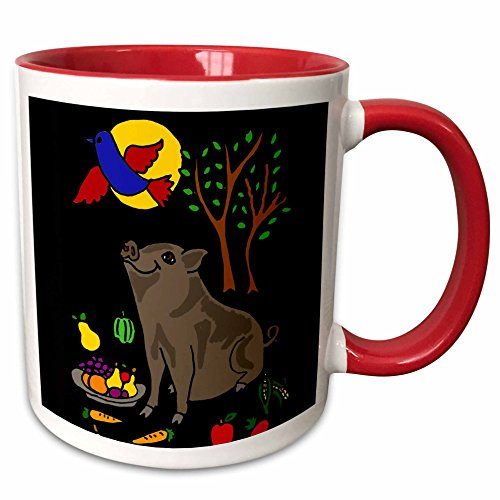 all-smiles-art-animals-funny-grey-pot-bellied-pig-with-food-and-bluebird-overhead-11oz-two-tone-red-