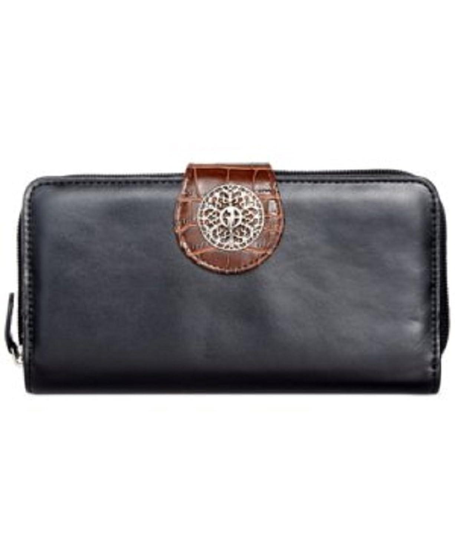 Giani Bernini Florentine Glazed Leather Filigree All In One Wallet, Black