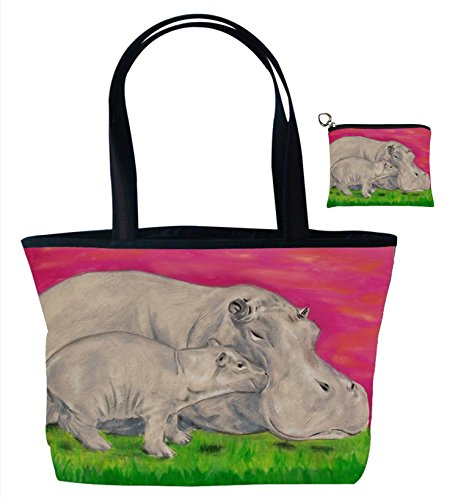 Hippo Gift Set Shoulder Bag and Coin Purse- Support Wildlife Conservation - Read How - From My Original Painting, Communal Clan Avenue Top Zip Tote