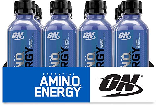 Optimum Nutrition Amino Energy Ready-To-Drink, Blueberry Lemonade, Keto Friendly BCAAs, Preworkout and Essential Amino Acids with Green Tea and Green Coffee Extract, 12 Count