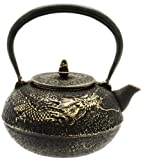 Kotobuki Japanese Iron Teapot, Black and Gold Dragon