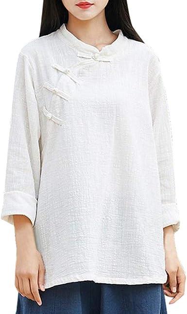 ALIKEEY Las Mujeres De Manga Larga Botón Chino Kung Fu Casual Blusa Top Pullover Camisa: Amazon.es: Ropa y accesorios