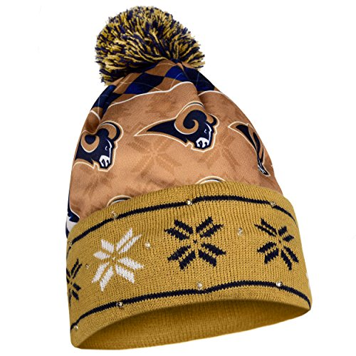 FOCO Los Angeles Rams Exclusive Busy Block Printed Light Up Beanie by FOCO