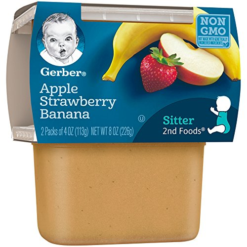51ubQgTAfQL - Gerber 2nd Foods Apple Strawberry Banana, 4 Ounce Tubs, 2 Count (Pack Of 8)