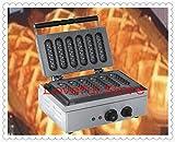 220V-240V Commercial 6pcs Crispy Waffle Hot Dog Bar Maker French Hot Dog Sausage Mould Muffin Waffle Lolly Sausage Machine