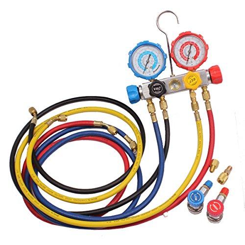 [해외]BETOOLL HW8025 4 방향 AC 매니 폴드 게이지 세트 R410A R22 R134A HVAC 진단용 충전 도구, 호스 + 커플러 어댑터/BETOOLL HW8025 4 Way AC Manifold Gauge S