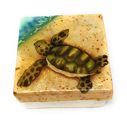 Kubla Craft Capiz Shell Keepsake Box, Baby Sea Turtle on Beach, By, 3 X 3 (Keepsake Turtles 3 Boxes)