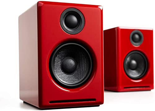 Audioengine A2 Wireless 60W Powered Desktop Speakers, Bluetooth aptX Codec, Built-in 16Bit DAC and Amplifier Red