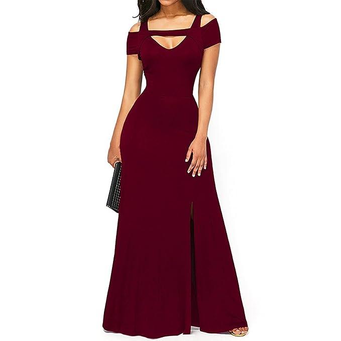 5a976266ec439 Amazon.com: Mercantil Express Women Cold Shoulder Front Slit Flare ...