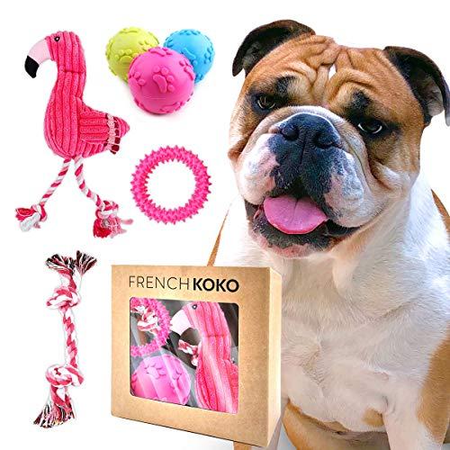(French KOKO Flamingo Dog Toy Set | 6-Pack Dog Gift Includes Flamingo, Balls, Rope Toy & Spiky Dental Ring | Dog Chew Toy | Squeak Dog Ball Set | Cute Dog Gift | Dog Rope Toy | Rubber Dog Ball (6pk))