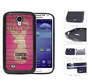 Country Girl on Pink Wood Pattern with Deer Samsung Galaxy S4 I9500 2-piece Dual Layer High Impact Black Silicone Cover