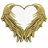 PinMart's White Heart with Antique Gold Angel Wings Enamel Lapel Pin