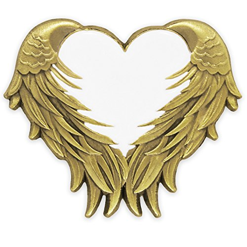 Heart White Gold Brooch - PinMart's White Heart with Antique Gold Angel Wings Enamel Lapel Pin