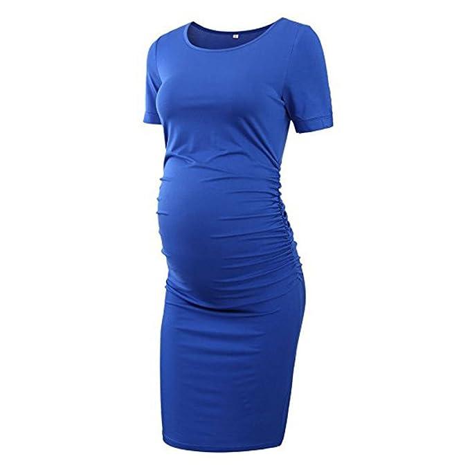 Cinnamou Falda de maternidad de color sólido mangas corta con cuello en V para mujer Vestidos