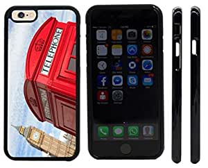 Rikki KnightTM British Phone Booth and Big Ben Design iPhone 6 Case Cover (Black Rubber with front bumper protection) for Apple iPhone 6